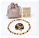 Baltic Amber Teething Necklace (Unisex) ( MultiColor) - Natural Certificated Oval Baltic Jewelry - 100% Raw Amber Necklace for Baby Teething Relief - Natural Alternative to Baby Teething Tablets