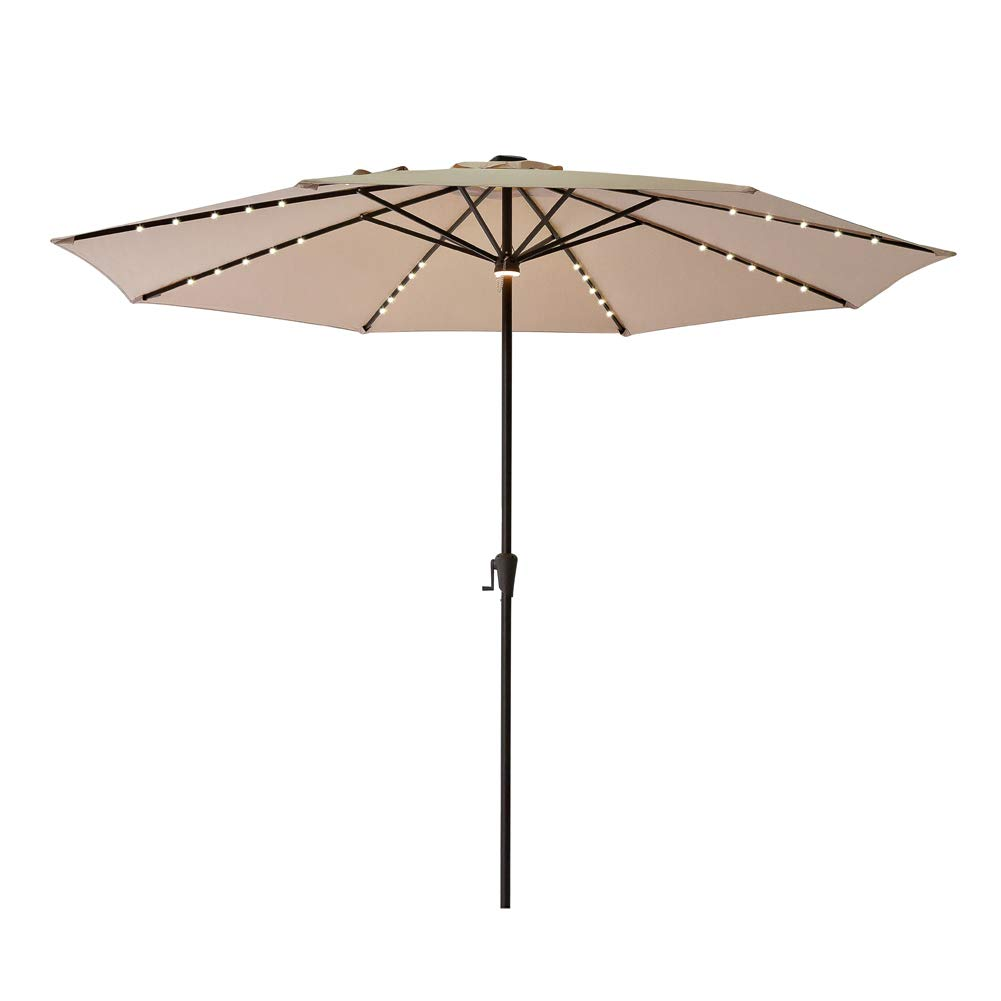 C-Hopetree 11ft LED Lighted Large Outdoor Patio Umbrella Market Style for Balcony Table Backyard Garden Deck or Pool, Beige