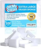 (100 Pack) Extra Large Eraser Sponge - Extra Thick, Long Lasting, Premium Melamine Sponges in Bulk - Multi Surface Power Scrubber Foam Cleaning Pads - Bathtub, Floor, Baseboard, Bathroom, Wall Cleaner