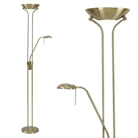 GLOBO lámpara de pie de latón envejecido, regulador de ...