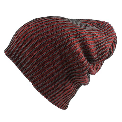 Morehats Two Tone Slouchy Knit Beanie Warm Winter Skater Ski Hip-hop Hat - Red
