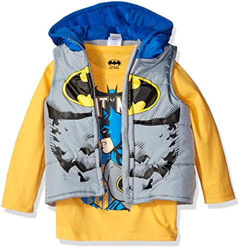 Warner Brothers Baby Boys' 2-Piece Batman Or Superman T-Shirt and Costume Vest