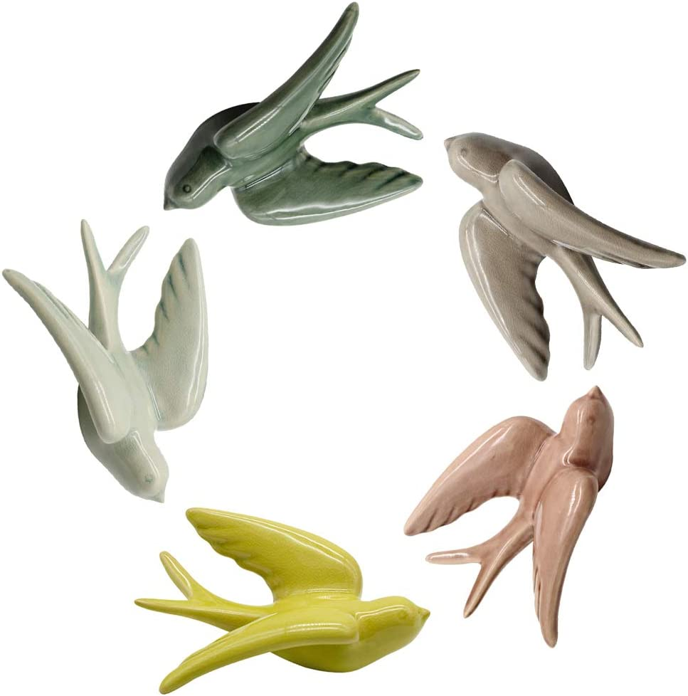 Dorlotou Ceramic Birds Colorful Swallows Wall Mounted Home Décor Hanging for Livingroom Set of 5