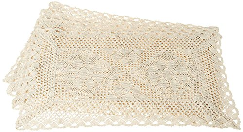 (Violet Linen Stars Crochet Vintage Design Placemat, Set of 4, 12