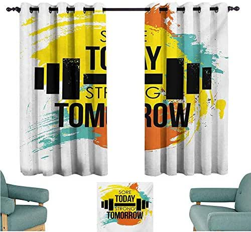 DONEECKL Room Darkening Wide Curtains Fitness Sore Today Strong Tomorrow Gym Quote Typography Colorful Energetic Brushstrokes Tie Up Window Drapes Living Room W55 xL72 Multicolor