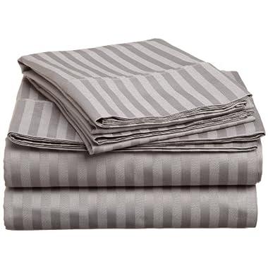 Bella Kline 1800 Series Brushed Microfiber Queen 4-Piece Bed Sheet Set, Silver Light Grey