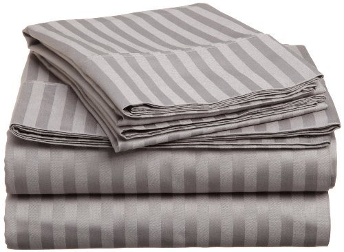 ELAINE KAREN  STRIPED 4PC QUEEN Sheet Set GREY