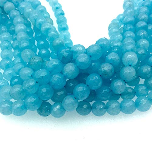 8mm Faceted Dyed Tiffany Blue Natural Jade Round/Ball Shaped Beads with 1mm Beading Holes - Sold by 15.25