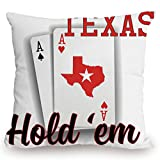 Throw Pillow Cushion Cover,Poker Tournament Decorations,Texas Holdem Theme Pair of Aces with Map Winning Hand Decorative,Red Black White,Decorative Square Accent Pillow Case