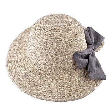 CCLLc Sombrero De Paja Natural Gorro De Verano Para Mujer Sombrero De  Lentejuelas Ancho Sombreros De 88421c841c8