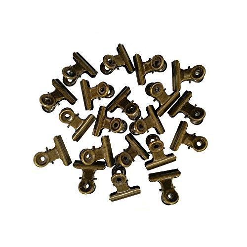 Sunny W Metal Bulldog Clips, 1.25 Inches, Pack of 20 (Bronze) Dark Rustic Bronze Metal