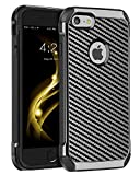 iPhone 6S Plus Case,iPhone 6 Plus Case,BENTOBEN 2 in 1 Slim Hybrid Hard PC Laminated with Carbon Fiber Texture Chrome Shockproof Protective Phone Case Cover for iPhone 6S Plus/iPhone 6 Plus,Gray/Black