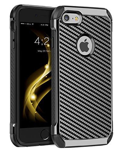(iPhone 6S Plus Case,iPhone 6 Plus Case,BENTOBEN 2 in 1 Slim Hybrid Hard PC Laminated with Carbon Fiber Texture Chrome Shockproof Protective Phone Case Cover for iPhone 6S Plus/iPhone 6 Plus,Gray/Black)