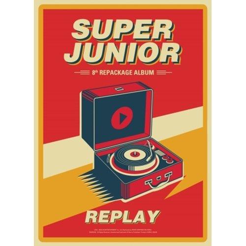 SUPER JUNIOR [REPLAY] 8th Repackage Album CD+POSTER+Photobook+Card+Tracking Number K-POP SEALED