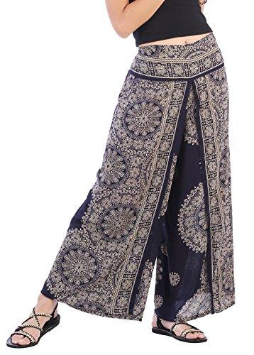 CandyHusky Women's Elastic Waist Bohemian Hippie Gypsy Harem Palazzo Print Pants (Floral Mandala 1 Dark Blue) Textured Flare Pants