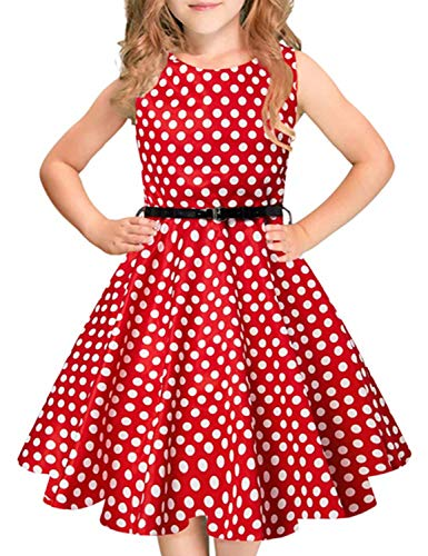 Funnycokid Red Polka Dot Girl Dress, Birthday Sleeveless Party Dress with Belt 12T