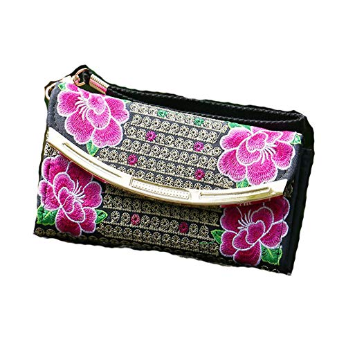 Red3 Double coin sided Embroidery Bag Handmade Purse Women xw0p6nrRwq