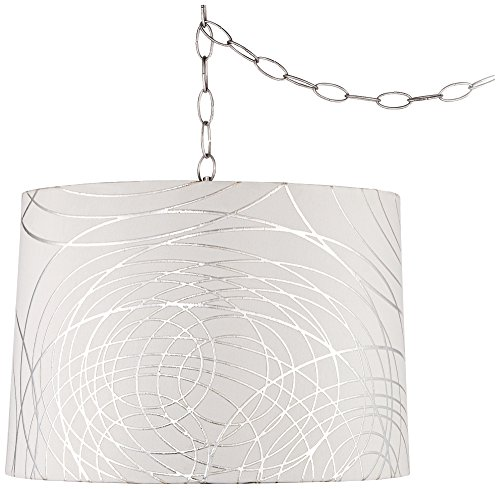 Abstract Silver Circles 16''W Steel Plug-in Swag Chandelier by Universal Lighting and Decor