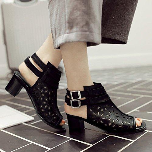 Charme Voet Dames Mode Zomer Dikke Hak Peep Toe Sandaal Zwart