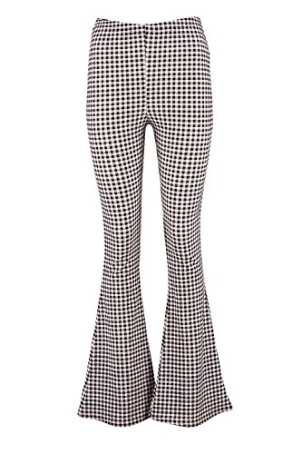 Gingham Pants (Boohoo Womens Orla Gingham Crepe Skinny Flare In Black Size 10)