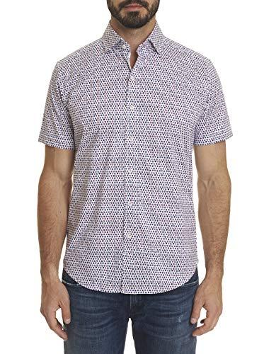 (Robert Graham Clipper Way Polka Dot Printed S/S Sport Shirt Tailored Fit Medium Blue)