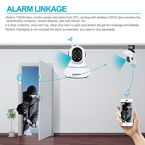 AKASO Wireless Wifi IP Security Camera 720P Indoor Home Surveillance System Baby Pet Monitor 2 Way Audio, Day/Night Vision Webcam (IP1M-901)