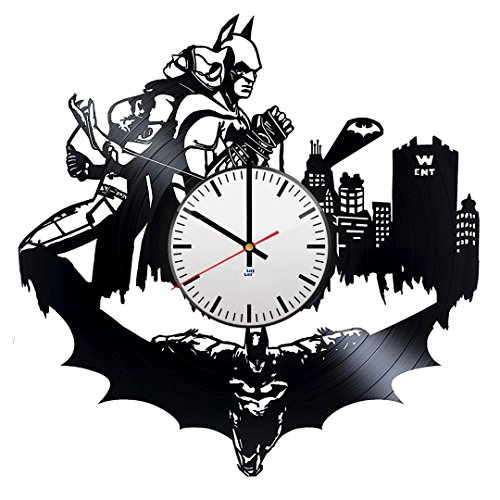 [Modern Vinyl Record Wall Clock With a Superheroes Couple Design - Unique Living Room or Rest Room Wall Decor - Original Gift Idea For Youth, Men and Women - Exclusive Comics Fan] (Robin From Arkham City Costumes)