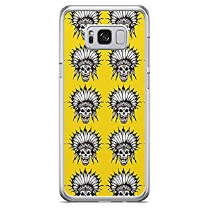 Samsung Galaxy S8 Transparent Edge Phone Case Yellow Phonen Case Yellow Skull Phone Case Indian Samsung S8 Cover with See through edges