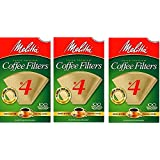 Melitta Cone Coffee Filters Natural Brown number 4, 100 Count, DWSpDX Pack of 6