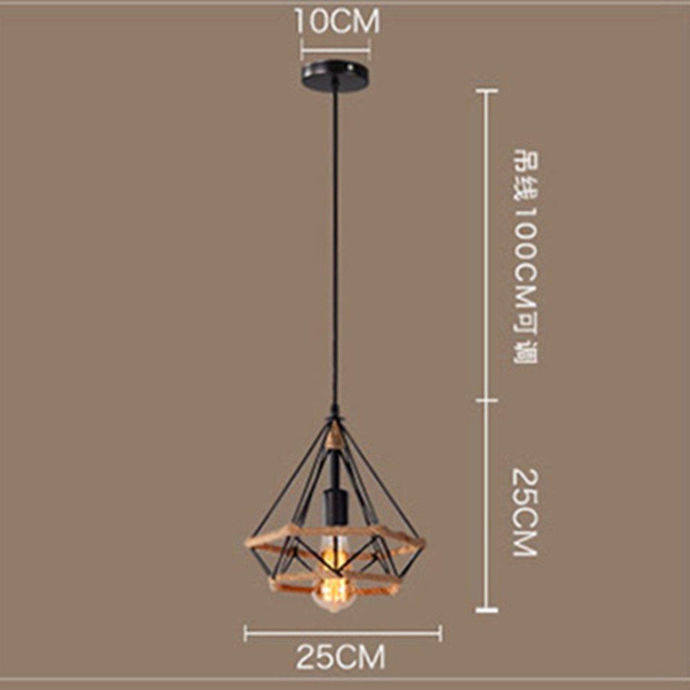 Beautiful KFI Simple Nordic r/étro personnalit/é cr/éative restaurant bar chandelier fer diamant chanvre chandelier seule t/ête suspension r/églable longueur de fil 1000mm de diam/ètre 250mm