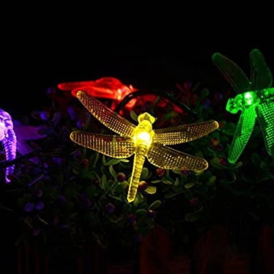 Solar String Lights, Kumeda 16 feet 20 LEDs dragonflies Starry String Lights for Outdoor,Wedding Decorations, Gardens, Homes, Dancing, Christmas Party with 2 Modes Steady on and Flash (Multi-Color)