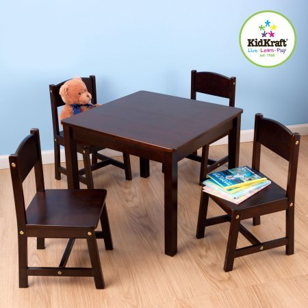 Children's Furniture Room Hand-Painted Wooden Espresso Activity Small Kids Study Square Table and 4 Chairs Set Indoor Farmhouse