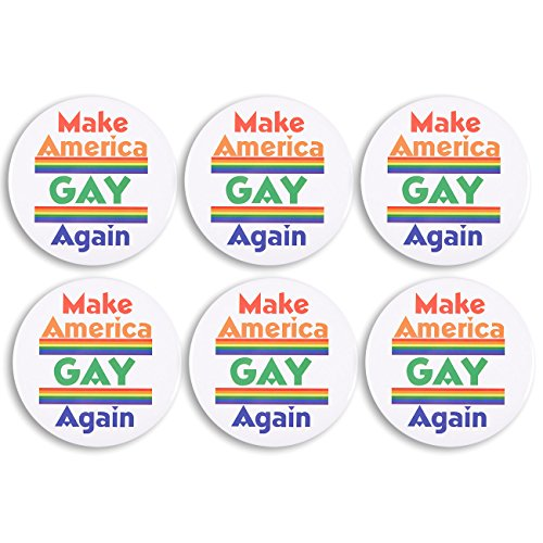 (LGBT Pins - 6-Pack Make America Gay Again Pinback Button Pins with Rainbows for LGBTQ Gay Pride Parade - 5.5 Inches Diameter)