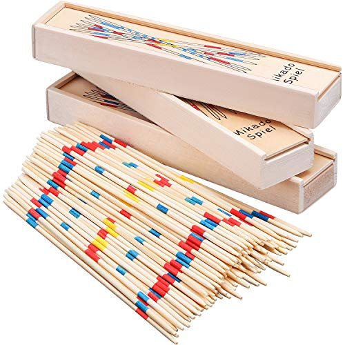 Tatuo 93 Pieces Wooden Pick up Sticks, Classic Pickup Game, Fun Family Game Gift Idea]()