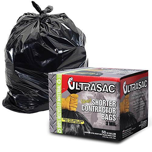 UltraSac Contractor Trash Bags - (50 Pack/w Ties) - Heavy Duty 3 MIL Thick, 39' x 32', Shorter 33 Gallon Black Version - for Industrial, Commercial, Professional, Construction, Lawn, Leaf, -