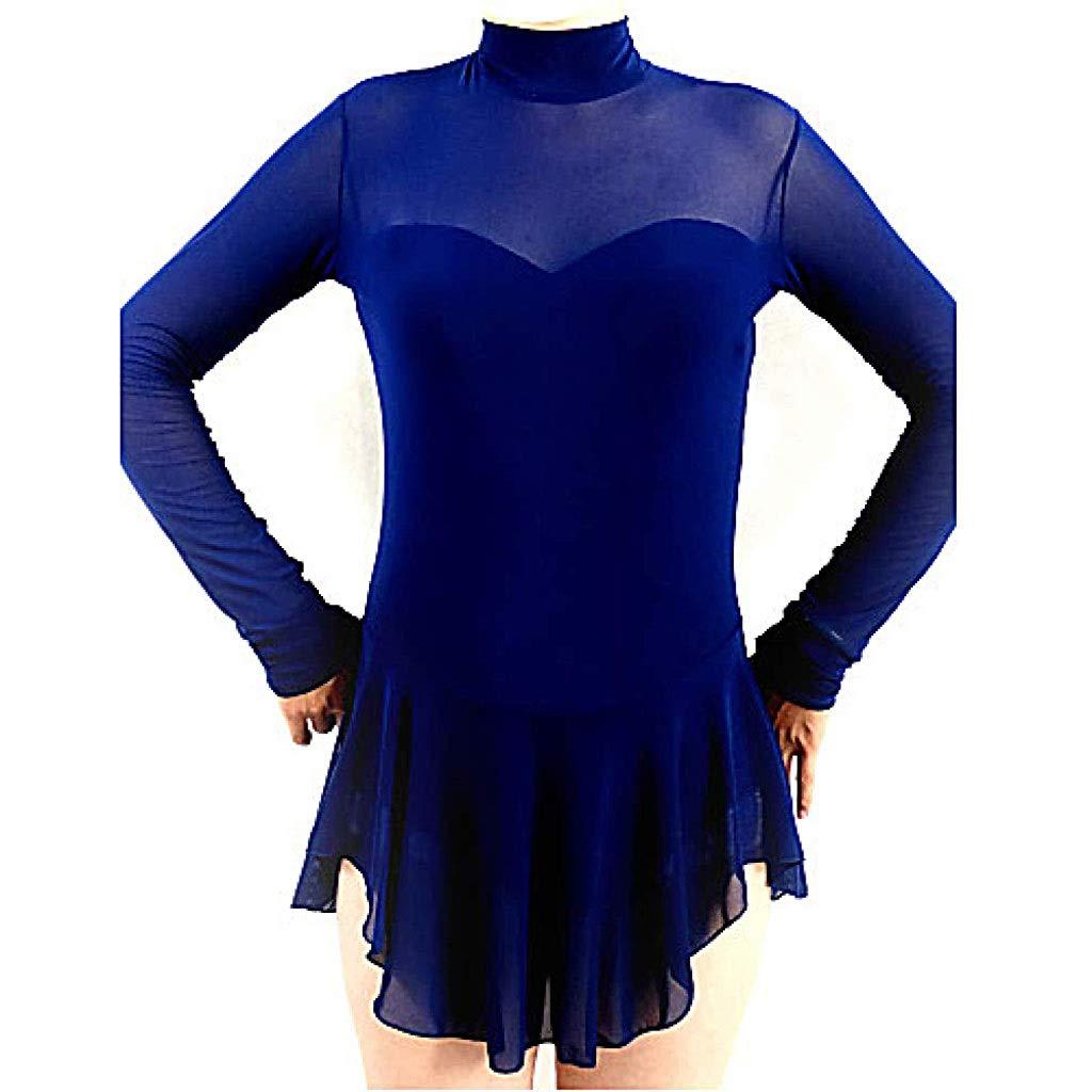 フィギュアスケートドレス、女性用エラスタン高弾性コンクールスケートウェア通気性長袖アイススケートフィギュアスケート/冬 ブルー S
