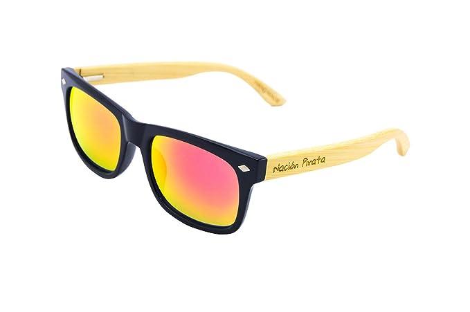 Nación Pirata - Gafas de Sol Madera de Bambú y Policarbonato- Polarizadas, efecto espejo