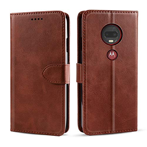 (Case Compatible with Motorola Moto G7 G7 Plus Case,[ Shock Absorbent ] Protects PU Leather Kickstand Wallet Cover Durable Flip Case for Case Compatible with Motorola Moto G7 G7 Plus Brown)