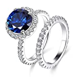 Jiangyue Women Rings AAA Cubic Zirconia Rhodium Plated Deep Blue Stone 2PCS Set Ring Gorgeous Vintage Jewelry Size 8