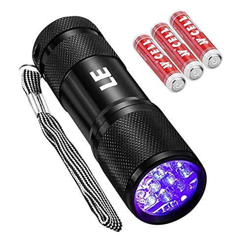 LE Small UV Blacklight Flashlight, Portable Black Light with 9 LEDs, 395nm, Ultraviolet Light Detector for Invisible Ink Pens, Dog Cat Pet Urine Stain, AAA Batteries Included ()