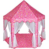 Princess Castle Tent,Kids Play Tent,Outdoor Indoor Playhouse with Mesh,Girl's Children Large Space Play Castle,Great Birthday Gifts for Kids,Pink
