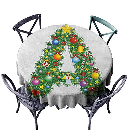 ScottDecor Picnic Round Tablecloth Wrinkle Free Tablecloths Letter A,Tree Star from Winter Celebrations Praying Angel Mini Stars Letter A Font Concept, Multicolor Diameter ()