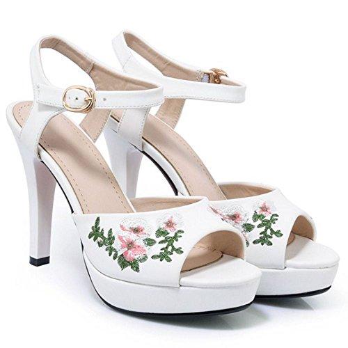 COOLCEPT Damen Mode Knochelriemchen Sandalen Stiletto Peep Toe Plateau Slingback Schuhe Gr White