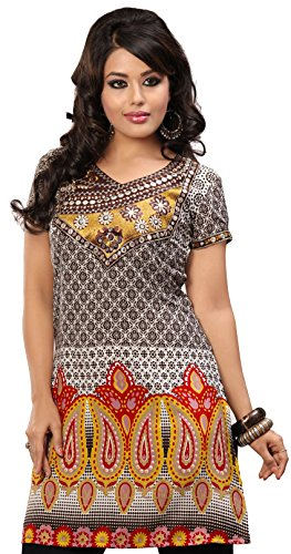 India Tunic Top Long Kurti Womens Embroidered Blouse Indian Apparel (Brown, M)