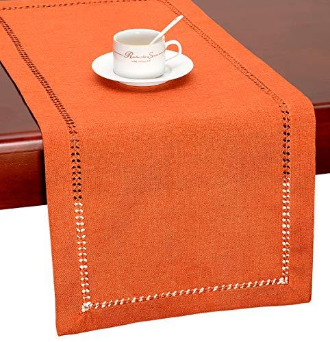 GRELUCGO Handmade Hemstitch Orange Thanksgiving Table Runner Or Dresser Scarf (14 x 60 Inch) by GRELUCGO
