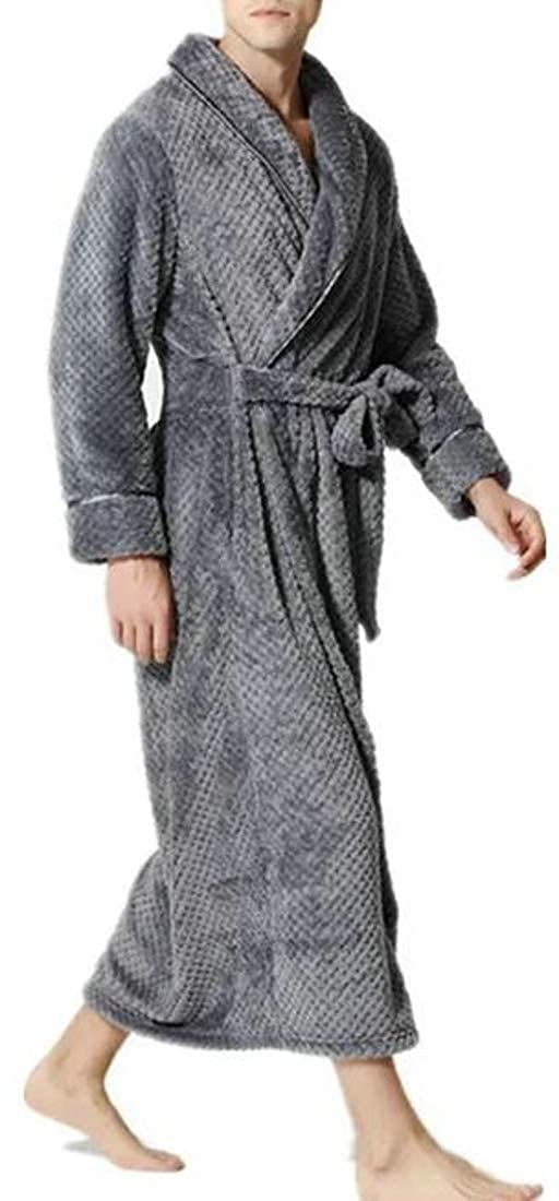 Pivaconis Men Soft Flannel Winter Bath Robe Lounge Comfortable Long Robes