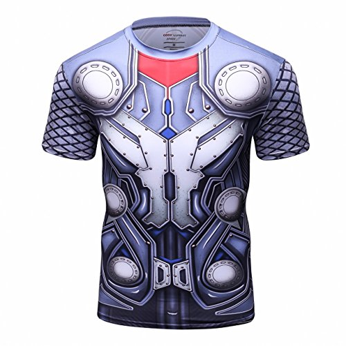 Red Plume Men's Superhero Shirt Sports Fitness T-Shirt Party/Role Play Short Sleeve -