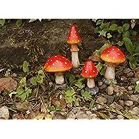 Garden Mile® Juego de 4Rojo Seta Seta decoraciones de jardín y estatuas ideal jardín de hadas decoración Decor