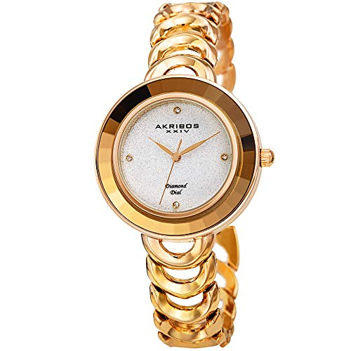 Great for Mother's Day - Akribos Crystal Bezel Glitter Dial Women's Watch - Round Faceted Crystals on Bezel, Stainless Steel Link Bracelet - AK1088 (Gold Tone Case Gold Glitter ()