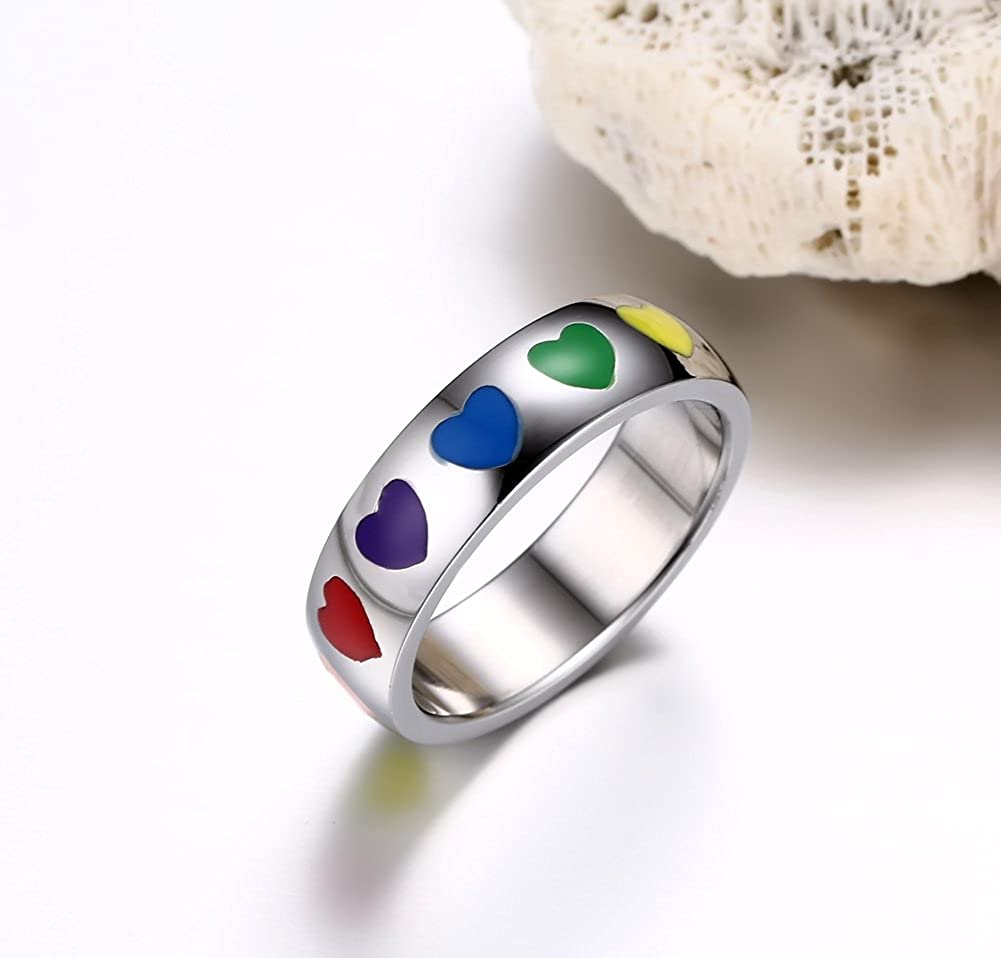MPRAINBOW Customize Free Engraving Stainless Steel Rubber Heart Lesbian Gay Pride Ring Wedding Ring for Women